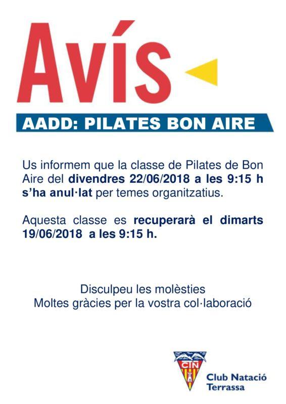Avis_canvi_dia_activitat_Pilates_Bon_Aire
