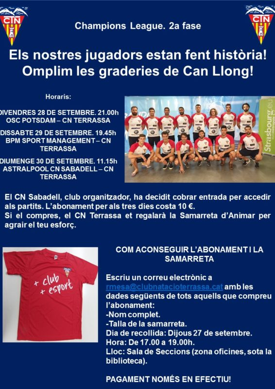 Cartell abonaments fase Champions Sabadell