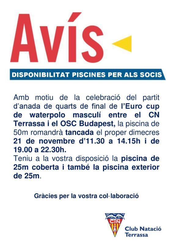 Avis_disponibilitat_piscines_partit_Euro_Cup_WP_OSC_Budapest_21_novembre