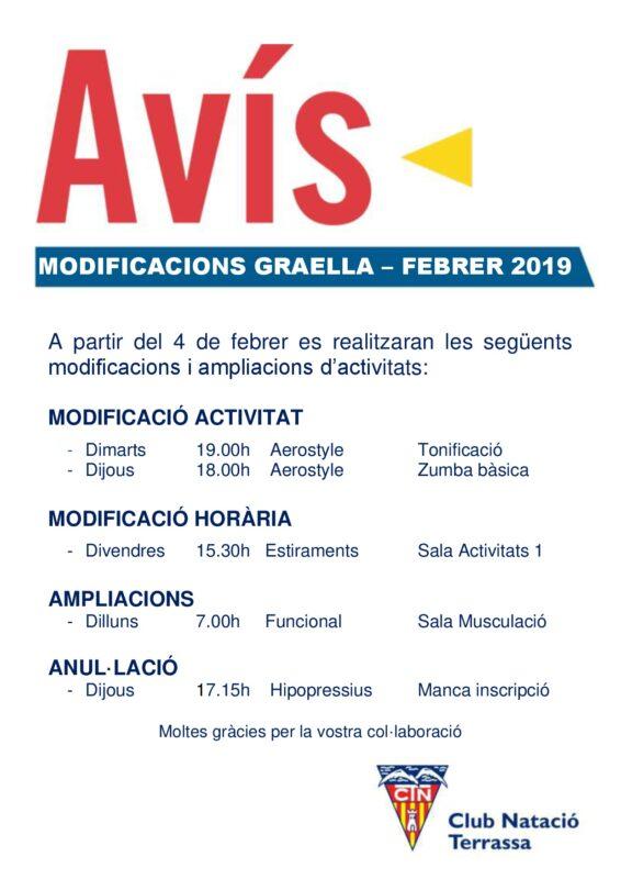 Avís Modificacions Graella -FEBRER 2019
