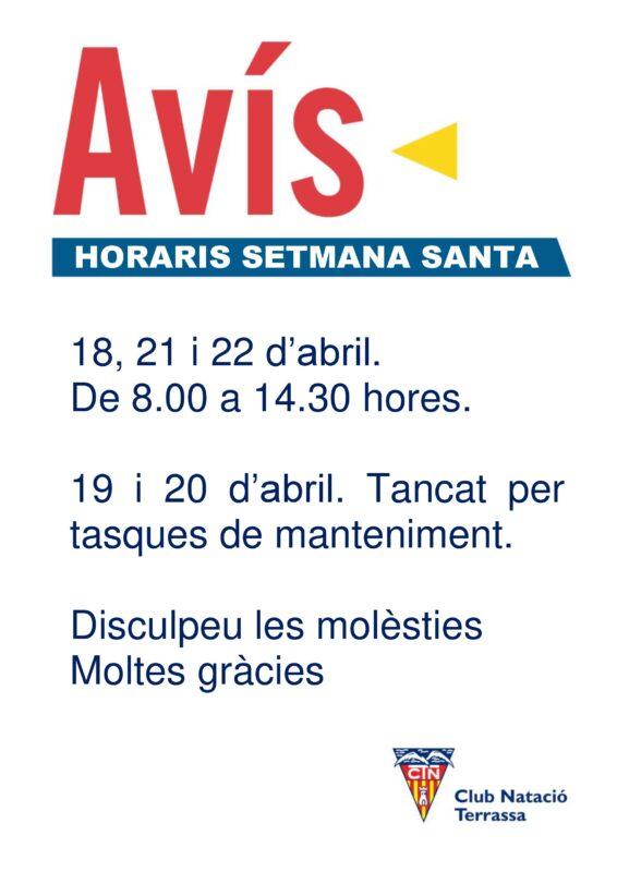Avís horari Setmana Santa DIN A3 2019