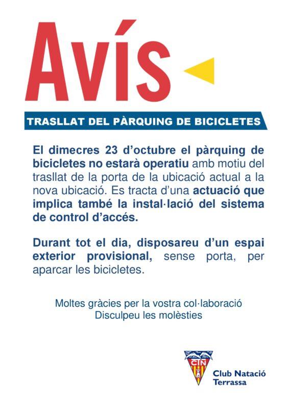 Avís pàrquing bicis DIN A3