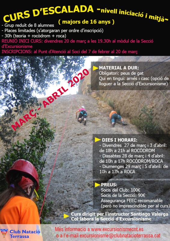 cartell Curs d'escalada març20
