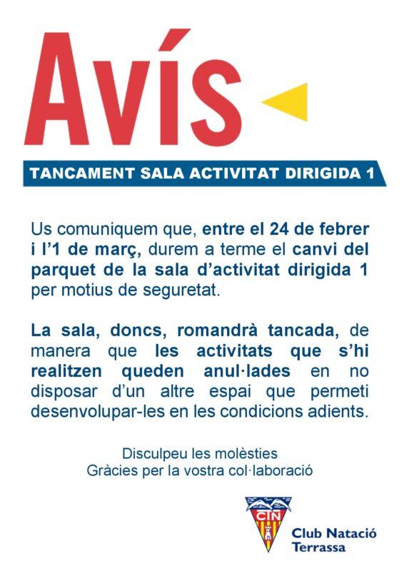 Avís canvi parquet sala 1 activitat dirigida DIN A4