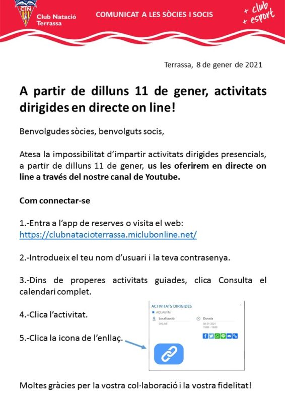 Comunicat activitats dirigides directe on line
