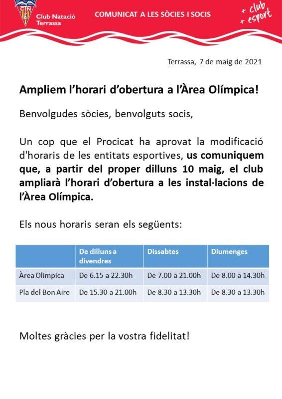 Comunicat ampliació horaris Àrea Olímpica