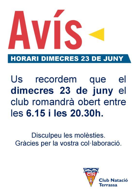 Avís horari 23 juny 2021 DIN A4