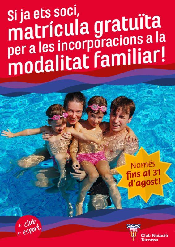 Cartell matrícula gratuïta incorporació modalitat familiar
