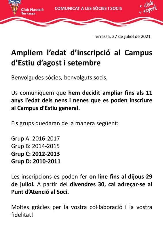 Comunicat ampliació edat campus estiu agost setembre