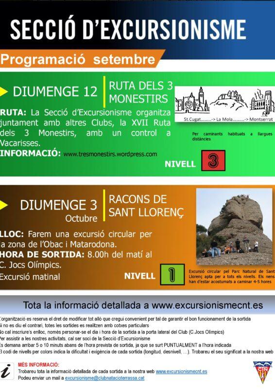 Cartell excursionisme setembre 2021